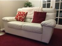 Leather sofas - 3 seater and 2 seater, pale cream, excellent condition
