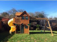 Fantastic wooden children's outdoor climbing frame/swing/climbing wall/slide and house
