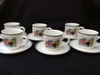 Villeroy and Boch 6 x expresso cups/saucers & milk jug. Perfect comdition