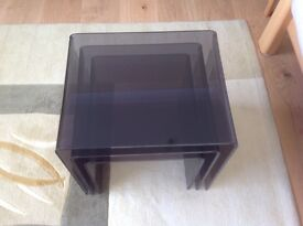 NEST OF TABLES, BLACK TINT ACRYLIC 8mm. New but very slight damage.