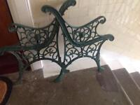Pair cast iron garden bench ends