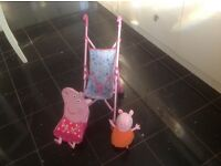 Peppa pig dolls buggy,backpack & mummy pig