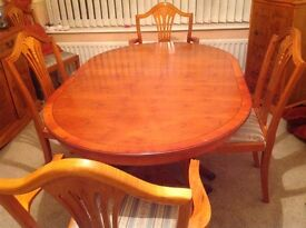 Yew dining table with 6 chairs, sideboard & drinks cabinet