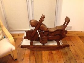 Wooden Rocking Motorcycle, Toy or Furniture