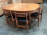 1974 Solid Teak Dining Table & 6 Chairs