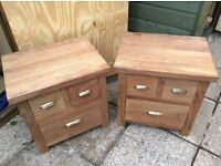 Bed side tables Pair solid wood good quality