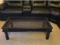 Unusual Black wood coffee table wrought iron