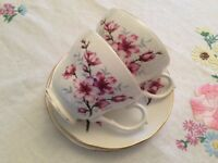 Duchess Bone China 2 Cups & Saucers. Pink Floral