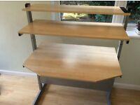 Desk light birch Variable height for shelves