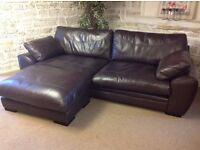 John Lewis Brown leather Corner sofa