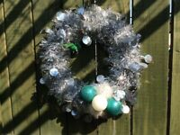 Decorated tinsel wreaths
