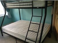 BLACK METAL TRIPLE BUNK BEDS WITH SINGLE MATTRESS IN VERY GOOD CONDITION