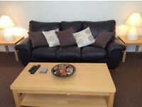 FREE Dark Brown 3 Seater Leather Sofa in good condition