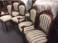 Set of 6 vintage French style chairs
