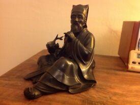 Asian Art. A bronze okimono of Jurojin By Seimi, Meiji.