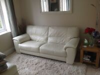 Leather sofa in soft cream leather made by Furniture Village as Shades 3 seater sofa REDUCED PRICE.