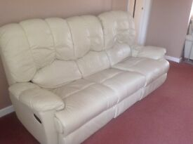3 Seater Cream Leather Manual Recliner Settee