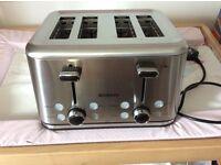 NEW Brabantia Stainless Steel 4 Slice Toaster - Wide Slot Bagel Function BBEK1031