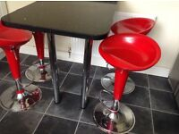 KITCHEN BAR STOOLS FOUR RED AND CHROME GAS LIFTING
