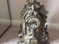 Large Ornate Chiming Brass Clock