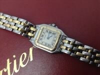 GENUINE LADYS CARTIER PANTHERE WATCH 2 ROW 18k 750 GOLD & STAINLESS STEEL FINAL LOWEST PRICE £875
