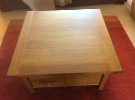 Laura Ashley Milton Oak Storage Coffee Table Square With Drawers and Shelving