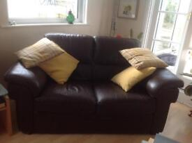Leather sofas and chair suite