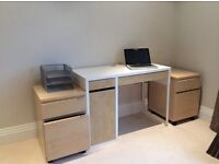 Modern desk, 2 filing cabinets, floor mat and chair