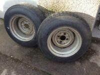 MGB 9 1/2 wide steel banded wheels and tyres .