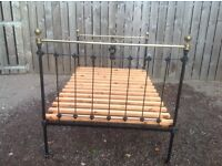 Antique Victorian cast iron and brass double bed frame