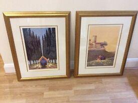 Pair of framed prints by Lowell Herrero