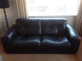 Large Italian Quality Black Leather 3 Piece Suite