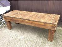 Chunky rustic heavy wooden coffee table