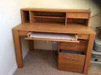 Staples Desk and afiling Cabinet in Solid and Oak veneers
