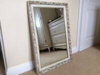 Shabby chic wall hanging mirror white with gold gilding