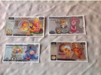 SET OF FOUR WINNIE THE POOH NOVELTY MONEY.