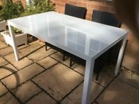 White garden table 150cm x 90cm