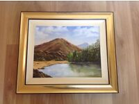Fab framed Mourne Mountains oil painting by local artist