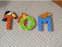 Wooden letters spelling name 'Tom' - brand new