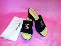 RUSSELL AND BROMLEY SLIDERS WITH PERSONAL DECORATION LADIES SIZE 6 UK (39) BEAUTIFUL CONDITION