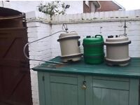 2 Aquaroll barrels with handle and a water porter barrel