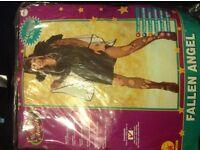Brand new Fallen angel black velvet fancy dress costume size 10-12