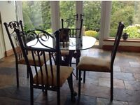 For Sale Bronze Verdigris Table & Four Chairs with Glass Top