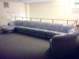 11 seater Italian leather sofa in powder blue