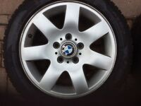 Set of 4 Avon Ice Touring ST winter tyres on alloy rims for BMW 320. 205 55/R16