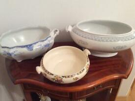Three antique dishes suitable for planting bulbs or plants