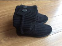 Genuine women's black knitted UGG boots