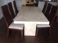 Marble Dining Table and 6 wooden chairs