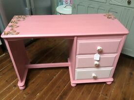 Childs desk/dressing table pine painted pink