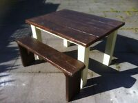 garden table 2 benches heavy solid reclaimed shabby chic